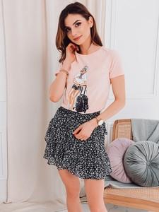 Różowy t-shirt Edoti z bawełny