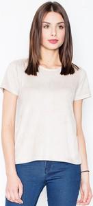 T-shirt Figl z krótkim rękawem z zamszu