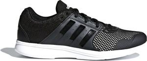 Czarne buty sportowe Adidas w młodzieżowym stylu z płaską podeszwą sznurowane