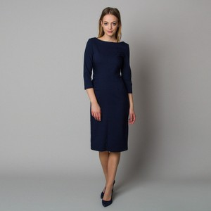 Granatowa sukienka Willsoor z długim rękawem z okrągłym dekoltem z tkaniny