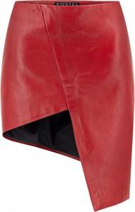 Czerwona spódnica KOSTES mini ze skóry