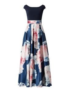 Granatowa sukienka Swing z okrągłym dekoltem z szyfonu maxi