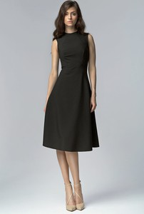 Czarna sukienka Nife midi z okrągłym dekoltem
