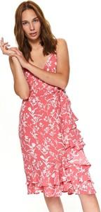 Różowa sukienka Top Secret w stylu casual z tkaniny