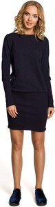 Czarna sukienka MOE mini z okrągłym dekoltem