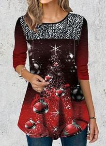Czerwona bluzka Cikelly z długim rękawem