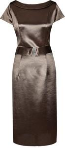 Brązowa sukienka Fokus z okrągłym dekoltem