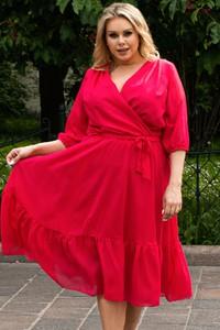 Sukienka KARKO kopertowa z dekoltem w kształcie litery v z szyfonu