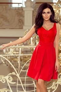 Czerwona sukienka NUMOCO rozkloszowana na ramiączkach