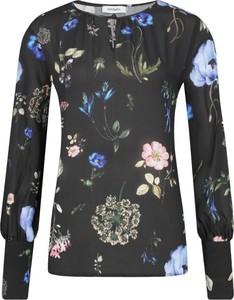 Czarna bluzka Max & Co. z dekoltem typu choker z długim rękawem z jedwabiu