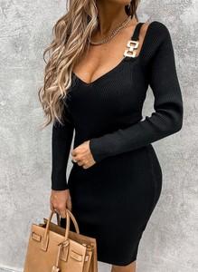 Czarna sukienka Sandbella mini z długim rękawem z dekoltem w kształcie litery v