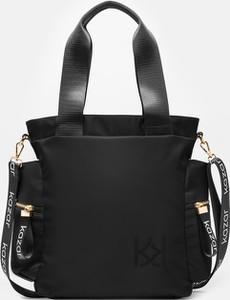 Czarna torebka Kazar na ramię w stylu glamour duża