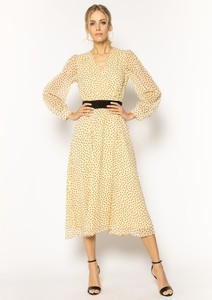Sukienka Marella rozkloszowana midi z długim rękawem