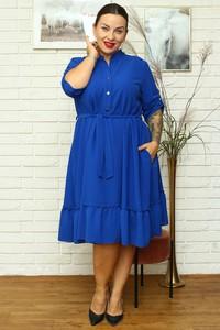 Niebieska sukienka KARKO w stylu casual midi