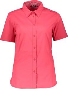 Różowa bluzka CMP z krótkim rękawem z golfem w stylu casual