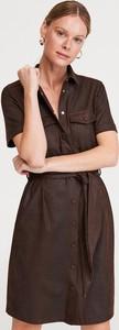 Sukienka Reserved koszulowa ze skóry mini