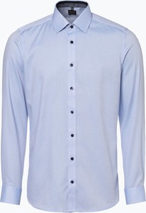 Niebieska koszula Olymp Level Five z długim rękawem z bawełny