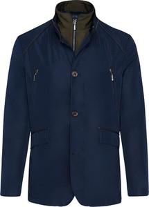 Granatowa kurtka Lavard z tkaniny krótka w stylu casual