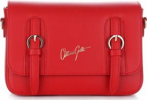 Eleganckie torebki skórzane listonoszki vittoria gotti czerwone