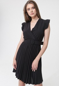 Czarna sukienka born2be mini bez rękawów
