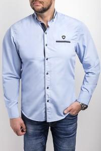 Niebieska koszula Risardi z klasycznym kołnierzykiem z długim rękawem