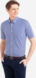 Niebieska koszula Wólczanka z tkaniny w stylu casual z krótkim rękawem