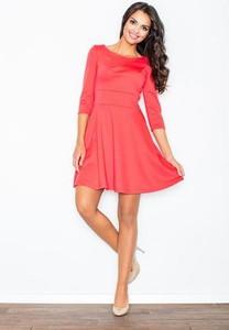 Różowa sukienka Figl mini z okrągłym dekoltem z długim rękawem