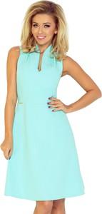 Niebieska sukienka NUMOCO trapezowa bez rękawów