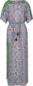 Sukienka Tory Burch z okrągłym dekoltem z krótkim rękawem z jedwabiu
