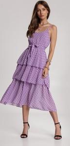 Fioletowa sukienka Renee midi z dekoltem w kształcie litery v