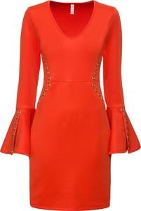 Czerwona sukienka bonprix BODYFLIRT boutique z dekoltem w kształcie litery v z długim rękawem