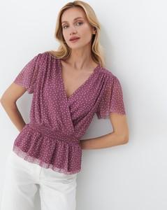 Fioletowa bluzka Mohito z dekoltem w kształcie litery v z krótkim rękawem