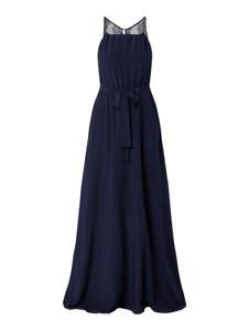 Granatowa sukienka Hugo Boss z dekoltem w kształcie litery v z jedwabiu