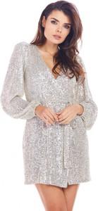Sukienka Awama mini z długim rękawem z dekoltem w kształcie litery v