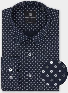 Granatowa koszula Pako Lorente z tkaniny z długim rękawem z klasycznym kołnierzykiem