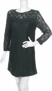 Zielona sukienka Sweewe prosta z okrągłym dekoltem z długim rękawem