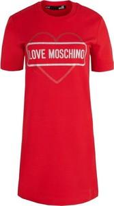 Sukienka Love Moschino z krótkim rękawem z bawełny prosta