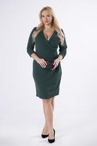 Zielona sukienka Manumo z długim rękawem kopertowa