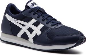 Niebieskie buty sportowe ASICS z płaską podeszwą ze skóry ekologicznej