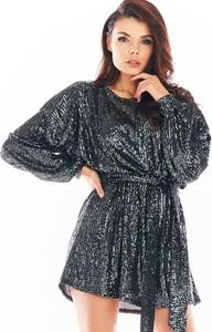 Sukienka Awama z dekoltem w kształcie litery v mini z długim rękawem