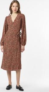 Brązowa sukienka Noisy May z długim rękawem w stylu casual kopertowa