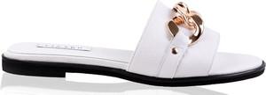 Klapki lizard-shoes.com z płaską podeszwą ze skóry