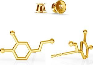 GIORRE SREBRNE KOLCZYKI DOPAMINA WZÓR CHEMICZNY 925 : Kolor pokrycia srebra - Pokrycie Żółtym 24K Złotem