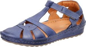 Granatowe sandały Suzana z płaską podeszwą w stylu casual z klamrami