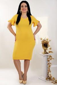 Żółta sukienka Oscar Fashion z długim rękawem z dekoltem w kształcie litery v