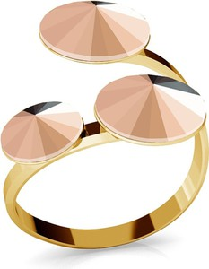 GIORRE SREBRNY PIERŚCIONEK SWAROVSKI RIVOLI 8MM 925 : Kolor kryształu SWAROVSKI - Rose Gold, Kolor pokrycia srebra - Pokrycie Żółtym 24K Złotem