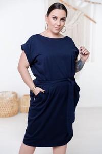 Sukienka Włoski mini z okrągłym dekoltem