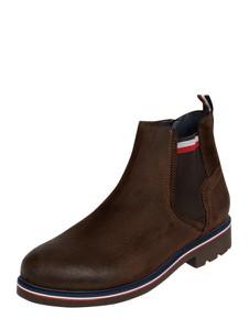 Brązowe buty zimowe Tommy Hilfiger na zamek ze skóry
