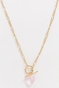ASOS DESIGN Curve – Naszyjnik z zawieszką w kształcie litery T i kryształowym sercem w złotym odcieniu