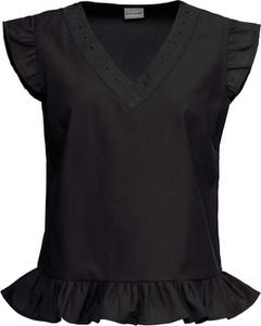 Czarna bluzka bonprix BODYFLIRT z dekoltem w kształcie litery v